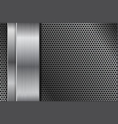 Metal perforated background with vertical vector