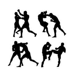 mma fighters vector image