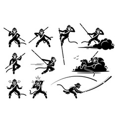 Monkey king or sun wukong characters icon set vector