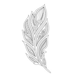 Monochrome decorative feather in paisley garden vector