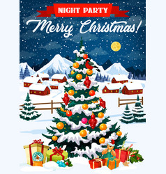 night party in christmas eve poster with xmas tree vector image