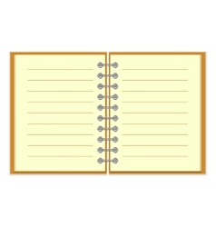 Open spiral lined notebook vector image