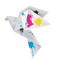 Origami dove with splashes ink vector