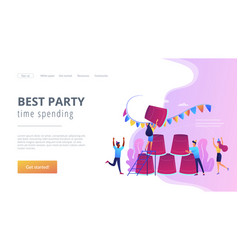 Party game concept landing page vector