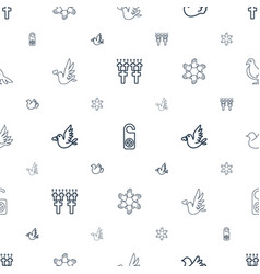 peace icons pattern seamless white background vector image