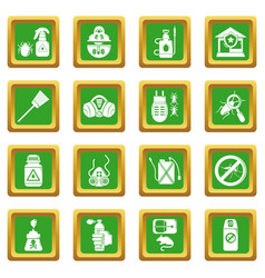 Pest control tools icons set green square vector