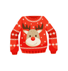 Red christmas sweater knitted warm jumper with vector