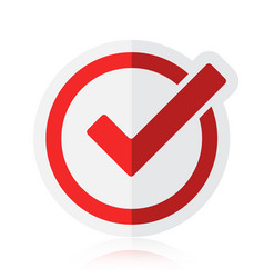 Red tick checkbox isolated on white vector