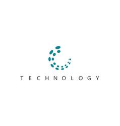 Round dot circle technology logo vector