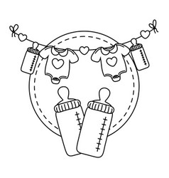 Round frame with feeding bottle in black and white vector