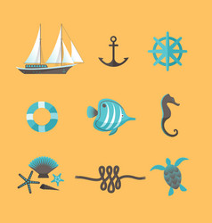 sea set on yellow background vector image vector image