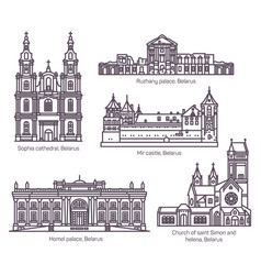 set isolated belarus architecture landmarks set vector image