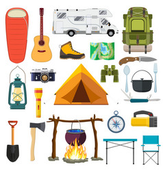 Set of camping elements vector