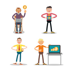 set of guys who sell the bitcoin vector image