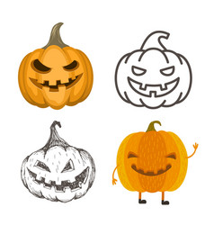set of halloween jack-o-lantern pumpkins vector image