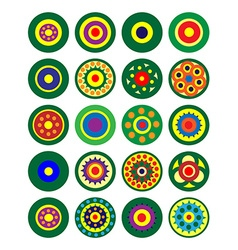 Set of multicolored circular patterns vector image