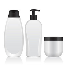 set of realistic cosmetic bottles tube container vector image