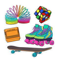 set of retro pop culture items from 90s vector image
