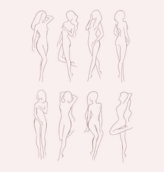 set of various nude woman silhouette beautiful vector image