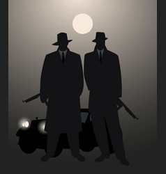 silhouettes of two men with machine gun and retro vector image