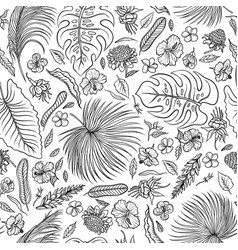 Sketch black and white set seamless pattern vector