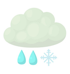 Snow and rain icon cartoon style vector