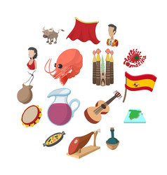 spain icons cartoon vector image