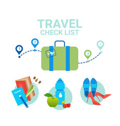 suitcase with clothes icons travel packing check vector image