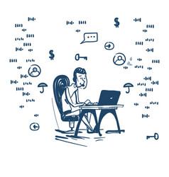 Support center headset agent man client online vector