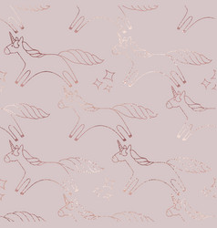 Unicorns rose gold elegant background for design vector