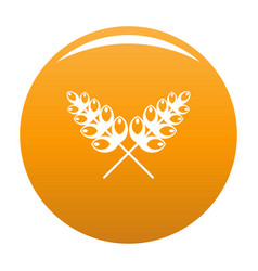 Wheat icon orange vector