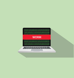 Worm hacking technique concept with laptop vector
