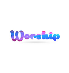 Worship pink blue color word text logo icon vector