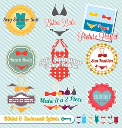 Bikini and Swimsuit Labels vector image