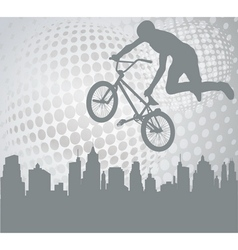 Bmx over abstract background vector