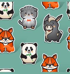 cute donkey fox cat and panda seamless vector image