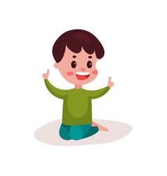 cute little boy sitting on the floor kid learning vector image
