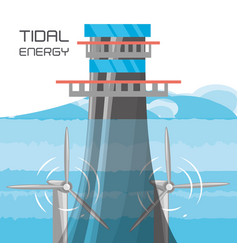 landscape related with tidal energy vector image