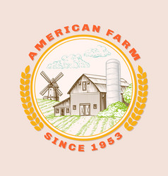 american farm barn for agriculture with windmill vector image