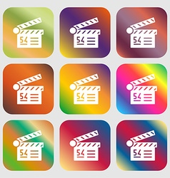Cinema movie icon sign Nine buttons with bright vector image