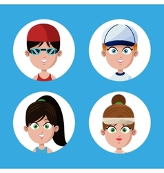 collection face girl sport style vector image