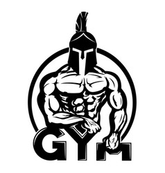 sign of a gym with a warrior vector image
