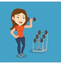 Woman lifting dumbbell vector image vector image