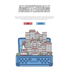 amsterdam city poster with open suitcase vector image vector image