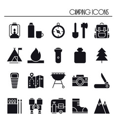 hiking and camping icons set outdoor camp sign vector image