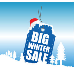 tag winter sale with snow design vector image vector image