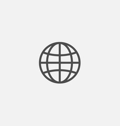 web earth globe line flat isolated icon vector image