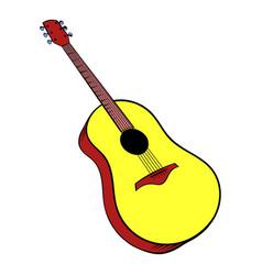 wooden acoustic guitar icon cartoon vector image