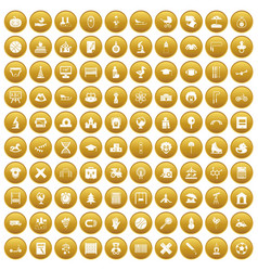 100 kids icons set gold vector image