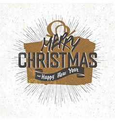 christmas card with christmas gift box silhouette vector image vector image
